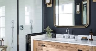 Modern Bathroom with Dark Walls - Natural Wood Vanity - Modern Farmhouse