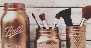 Rose Gold Mason Jars - Makeup Brush Holder - Makeup Organizer - Rose Gold Decor - Rustic Bathroom - Bathroom Decor - Mothers Day Vase