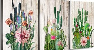 Cactus Decor Bathroom Canvas Prints Wall Art Green Tropical Desert Fleshy Plant Watercolor Pa...