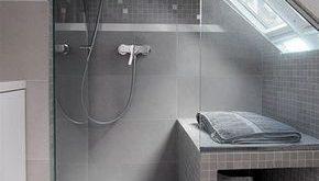 Klasse Einteilung für ein kleines Badezimmer mit Dachschräge