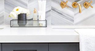 dark gray vanity with brass   Dark Gray Bathroom Vanity With Brass Hardware & Ch...