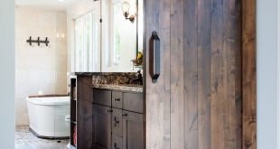 Barn #door #opens #to #modern #master #bathroom
