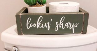 Cactus Decor, Bathroom Organizer Storage Box- Lookin' Sharp (bathroom humor, bathroom decor, funny bathroom sign)