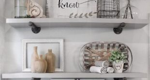 How to style bathroom shelves. Farmhouse shelf decor. DIY bathroom shelves. A.cozy.blessed.nest