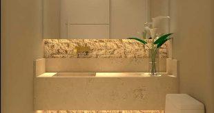 Lavabo decorado pequeno com espelho grande; destaq... - #bath #decorado #destaq ...