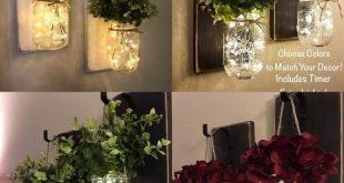 Rustikale Wohnkultur, Set von 2 Mason Jar Sconces, hängende Mason Jar Sconce, Mason Jar Dekor, Wandleuchte, Home Decor, Mason Jar Sconce mit Blumen