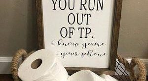 Text me if you run out TP framed wood funny bathroom sign | bathroom humor | farmhouse style bathroom decor