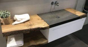 Waschtisch aus Granit auf Mass. Abdeckung aus Echtholz. Ästhetisches und elegantes Badezimmer