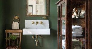 dunkle #olive #wand #im #Badezimmer #Ich # dunkle # olivgrüne #wand